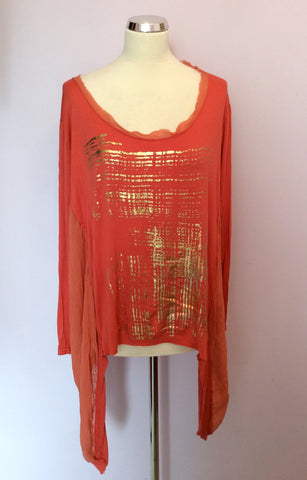 BRAND NEW GRATZIA ORANGE & GOLD PRINT LONG SLEEVE TOP ONE SIZE - Whispers Dress Agency - Womens Tops - 1