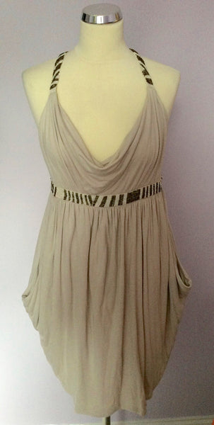All Saints Beige Sequined Trim Straps Scoop Neckline 'Alexandra' Dress Size 8 - Whispers Dress Agency - Womens Dresses - 1