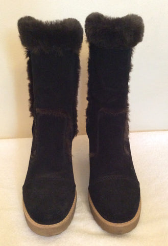 Carvela Dark Brown Suede & Faux Fur Trim Ankle Boots Size 5/38 - Whispers Dress Agency - Womens Boots - 2
