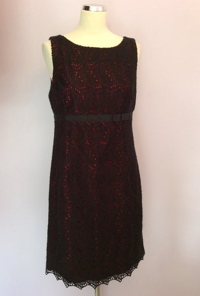 Whistles Black Lace & Red Lined Dress Size 14 - Whispers Dress Agency - Sold - 1