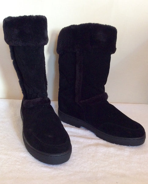 Brand New Dash Black Faux Suede Fur Trim Boots Size 6/39 - Whispers Dress Agency - Sold - 1