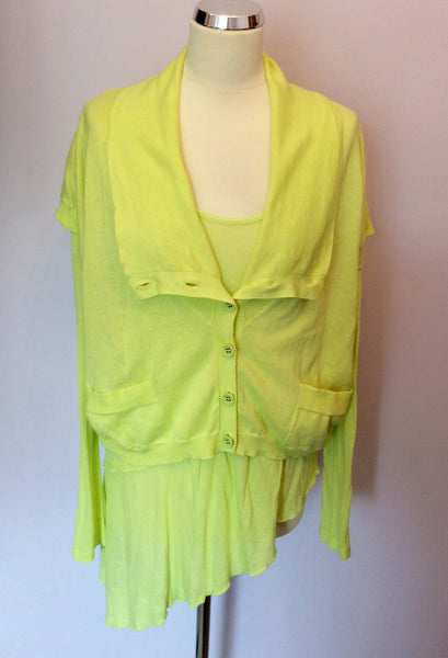 Sandwich Bright Lime Fine Knit Top & Cardigan Size L - Whispers Dress Agency - Sold - 1