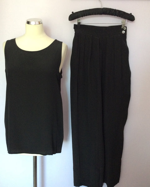 Vintage Jaeger Black Silk Vest Top & Trousers Suit Approx UK 6 - Whispers Dress Agency - Womens Vintage - 1