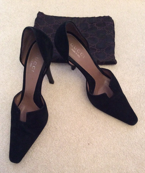 Gucci Black Suede Evening Heels Size 5/38 - Whispers Dress Agency - Womens Heels - 1