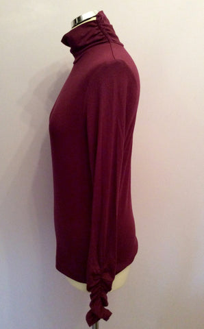 MYBC BURGUNDY STRETCH JERSEY POLO NECK TOP SIZE 12 - Whispers Dress Agency - Womens Tops - 2