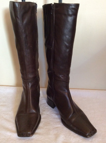 Essence Dark Brown Leather Boots Size 4/37 - Whispers Dress Agency - Womens Boots - 1