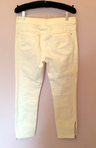 KAREN MILLEN WHITE CROP JEANS SIZE 12 - Whispers Dress Agency - Womens Jeans - 2