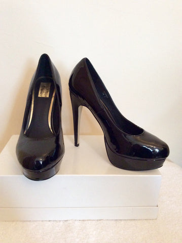 Brand New Kitch Couture Black Patent Platform High Heels Size 7/40 - Whispers Dress Agency - Womens Heels - 1