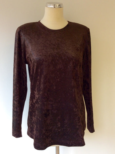 BETTY BARCLAY BROWN SPARKLE LONG SLEEVE TOP SIZE M - Whispers Dress Agency - Womens Tops - 1