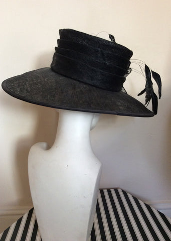 Black Feather & Flower Detail Wide Brim Formal Hat - Whispers Dress Agency - Womens Formal Hats & Fascinators - 3