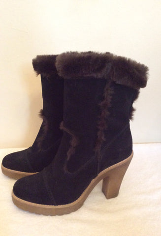 Carvela Dark Brown Suede & Faux Fur Trim Ankle Boots Size 5/38 - Whispers Dress Agency - Womens Boots - 3