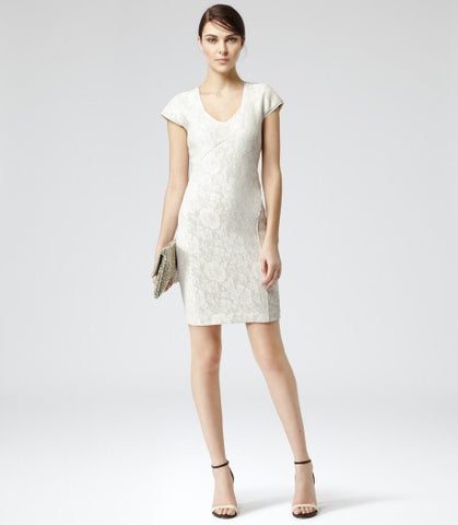 Brand New Reiss Cream Lace Jersey Dress Size 14 - Whispers Dress Agency - Womens Dresses - 4