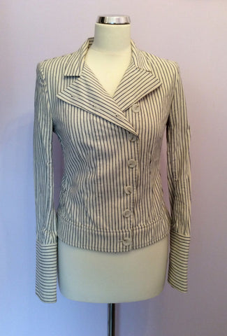 All Saints Blue & Ivory Pinstripe Cotton Jacket Size 10 - Whispers Dress Agency - Womens Coats & Jackets - 1
