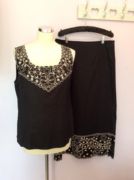 ADINI BLACK & WHITE EMBROIDERED TRIM TOP & LONG SKIRT SIZE L - Whispers Dress Agency - Womens Suits & Tailoring - 1