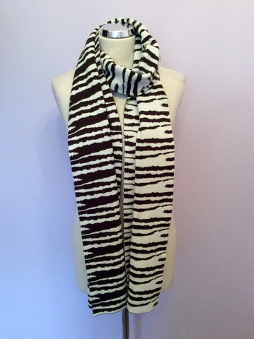 Whistles Dark Brown & Ivory Striped Long Scarf - Whispers Dress Agency - Womens Scarves & Wraps - 1