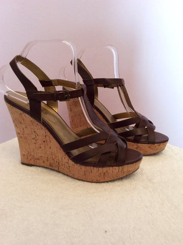 Guess Dark Brown Leather Wedge Heel Sandals Size 6/39 - Whispers Dress Agency - Womens Sandals - 2