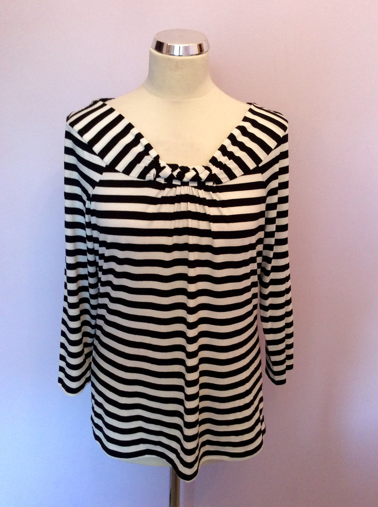 Austin Reed Black White Stripe 3 4 Sleeve Top Size L Whispers Dress Agency