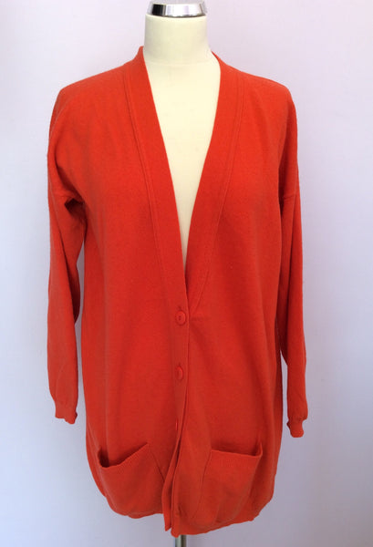 "Jaeger Orange Lambswool V Neck Cardigan Size 34"" Approx M/L - Whispers Dress Agency - Sold - 1"