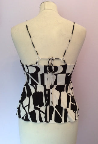 Armani Jeans Black & White Print Strappy Top Size 10 - Whispers Dress Agency - Womens T-Shirts & Vests - 2