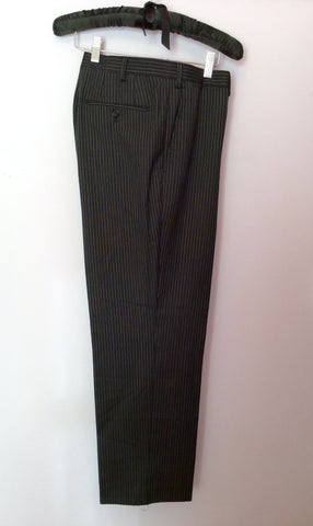 Marks & Spencer Autograph By Timothy Everast Dark Grey Pinstripe Wool Suit Size 44L/40W - Whispers Dress Agency - Mens Suits & Tailoring - 6