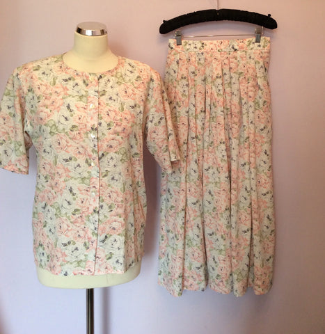 Vintage Jaeger Pale Pink, Blue & Green Floral Print Blouse & Skirt Size 10 - Whispers Dress Agency - Womens Vintage - 1