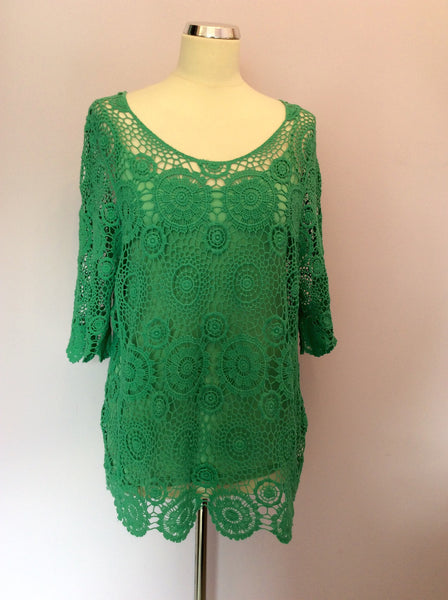 Made In Italy Green Crocheted Top & Camisole Size 3 UK 12/14 - Whispers Dress Agency - Sold - 1
