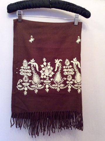 Brand New Planet Dark Brown & White Embroidered Wool Wrap / Shawl One Size - Whispers Dress Agency - Womens Scarves & Wraps - 2