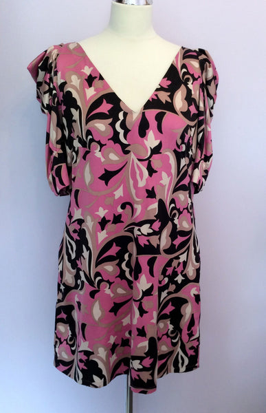 Monsoon Pink Print Pleated Short Sleeve Dress Size 14 - Whispers Dress Agency - Womens Dresses - 1