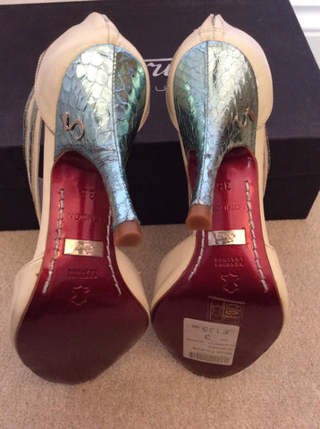 New In Box Strutt Couture Cream & Mint Patent Leather Heels Size 3/36 - Whispers Dress Agency - Womens Heels - 4