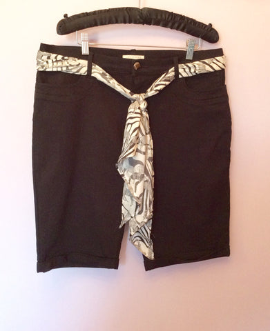 Smart Lakeland Black Shorts With Tie Scarf Belt Size 14 - Whispers Dress Agency - Womens Shorts - 1
