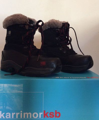 Karrimor Junior Black / Red Suede Snow / Walking Boots Size 12 - Whispers Dress Agency - Boys Footwear - 1