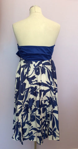 VINTAGE JAEGER BLUE & WHITE PRINT STRAPLESS COTTON DRESS SIZE UK 10/12 - Whispers Dress Agency - Womens Vintage - 3