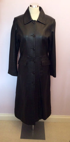 BRAND NEW BENNYS SHOP BLACK SOFT LEATHER LONG COAT SIZE S - Whispers Dress Agency - Womens Coats & Jackets - 1