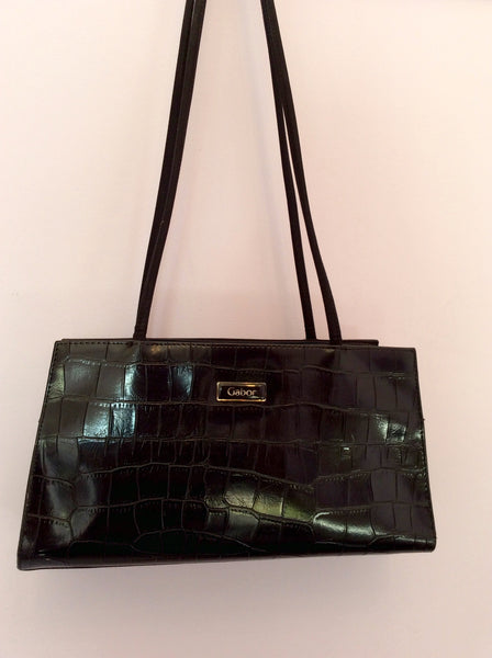 Gabor Black Croc Leather & Fabric Shoulder Bag - Whispers Dress Agency - Sold - 1