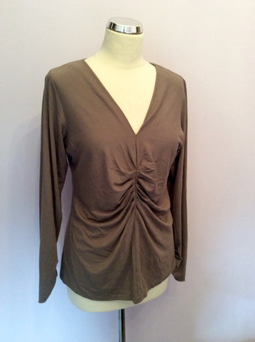 Nougat Light Brown Stretch Long Sleeve Top Size 16 - Whispers Dress Agency - Womens Tops - 1