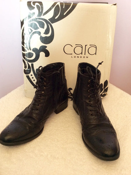 Cara London Black Leather Lace Up Ankle Boots Size 5/38 - Whispers Dress Agency - Sold - 1