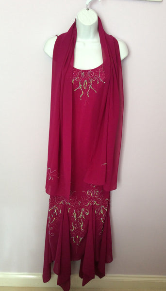 New Wondaland By Sector 8 Dark Pink Beaded & Sequin Evening Dress & Wrap Size 8 - Whispers Dress Agency - Womens Eveningwear - 1