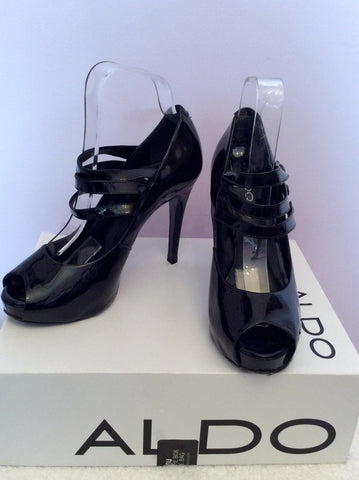 Aldo Black Patent Leather Peeptoe Mary Jane Heels Size 5/38 - Whispers Dress Agency - Womens Heels - 1