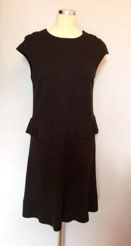 Joseph Black Wool Peplum Waist Dress Size 38 UK 10 - Whispers Dress Agency - Sold - 1