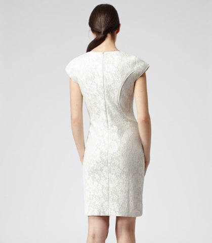 Brand New Reiss Cream Lace Jersey Dress Size 14 - Whispers Dress Agency - Womens Dresses - 3