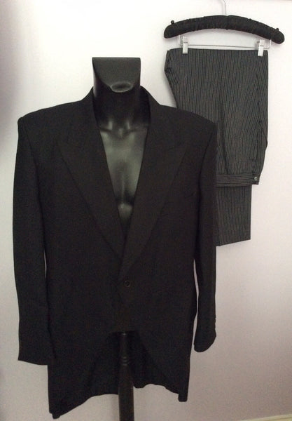 Smart Traditional Black Wool Morning Suit, Tail Coat & Grey Stripe Trousers 48S - Whispers Dress Agency - Sold - 1