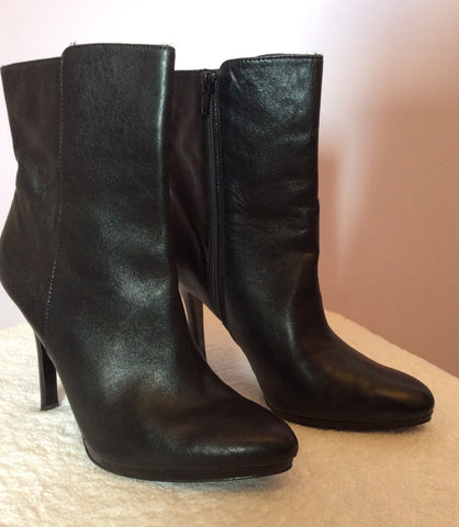 Ralph Lauren Black Leather Ankle Boots Size7/41 - Whispers Dress Agency - Womens Boots - 1
