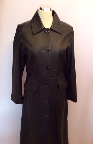 BRAND NEW BENNYS SHOP BLACK SOFT LEATHER LONG COAT SIZE S - Whispers Dress Agency - Womens Coats & Jackets - 2