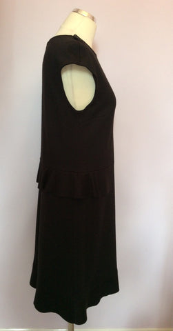 Joseph Black Wool Peplum Waist Dress Size 38 UK 10 - Whispers Dress Agency - Sold - 2