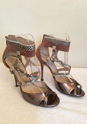 Jimmy Choo Bronze,Snakeskin & Dusky Pink Leather & Suede Sandals Size 4.5/37.5 - Whispers Dress Agency - Sold - 2