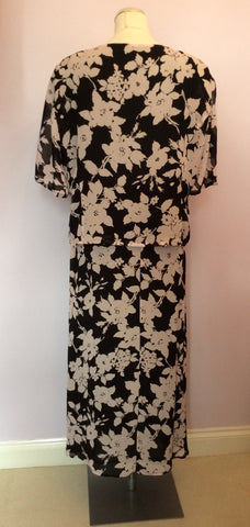Vintage Jaeger Black & Pink Floral Print Top & Skirt Size 18 - Whispers Dress Agency - Womens Vintage - 2