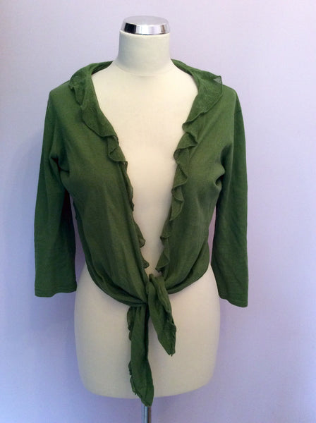 Laura Ashley Green Linen & Cotton Tie Front Crop Cardigan Size 14 - Whispers Dress Agency - Sold - 1