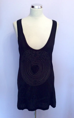 Elvis Jesus Black & Charcoal Print Beaded Racer Back Size 3 UK 12/14 - Whispers Dress Agency - Womens T-Shirts & Vests - 1