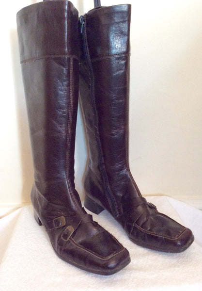 Reiker Dark Brown Buckle Trim Leather Boots Size 5/38 - Whispers Dress Agency - Sold - 1