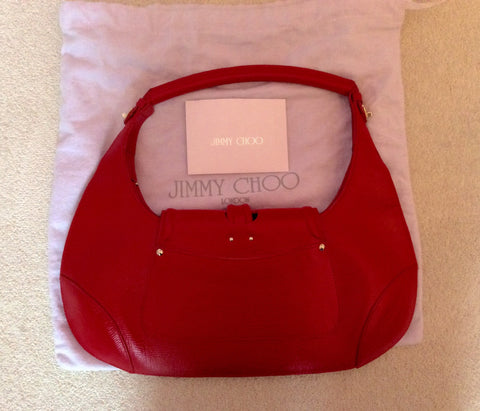 Jimmy Choo Red Leather Harp Bag - Whispers Dress Agency - Sold - 3